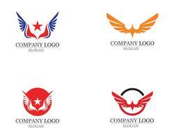 Alas de aves signo abstracto plantilla iconos