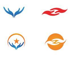 App icone del modello di logo e simboli di aiuto della mano