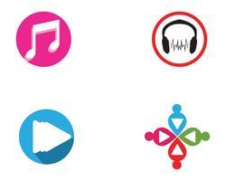 Muzieknoot symbolen logo en pictogrammen sjabloon