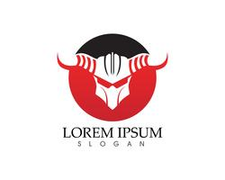 Plantilla de logo y símbolos de gladiador máscara warior