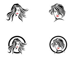 hair woman and face logo and symbols