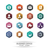 Conjunto de ícones básicos de negócios. estilo de sombra longa plana