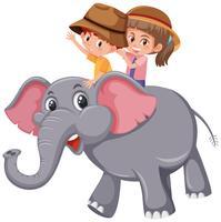 Enfants à dos d'éléphant sur fond blanc