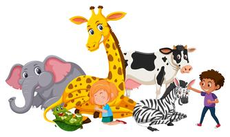 Bambini con animali whild