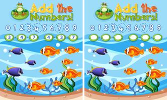 Add the numbers underwater reef