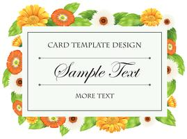 Card template with flowers in yellow and orange