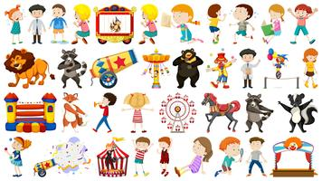 Conjunto de niños y circo.