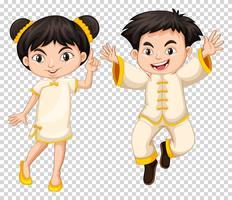Menino chinês, e, menina, em, traje tradicional