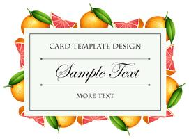 Card template with grapefruit border vector