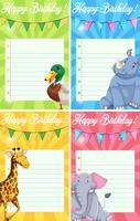 Jeu de cartes de joyeux anniversaire animaux