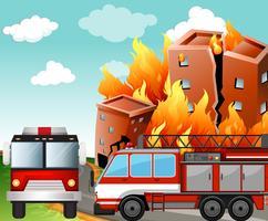 Fire trucks at the fire scene