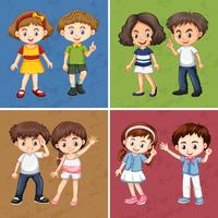 Children on different color background
