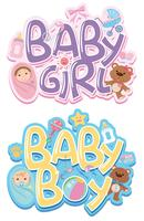 Conjunto de etiqueta de bebé vector