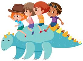 Children riding a dinosaur