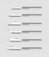 Verschiedene Arten von medizinischen Messern auf transparentem Hintergrund