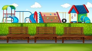 Cena do parque com parque infantil