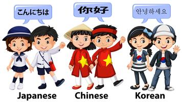 Kids from different countries in Asia
