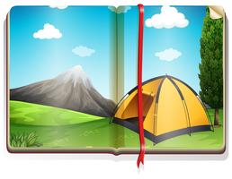 Book with tent in the campground
