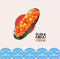 Sushi with fish eggs on japanese background