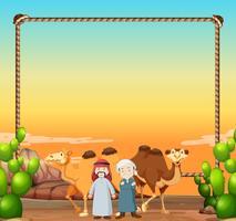 Gränsmall med kameler och arabiska män