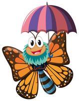 Carácter de mariposa sosteniendo paraguas