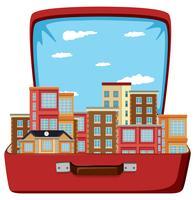 Städtisches Gebäude im Koffer