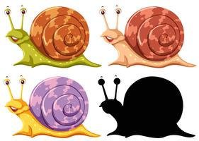 Set of snails on white background