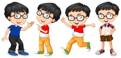 Junge in Gläsern in vier Aktionen