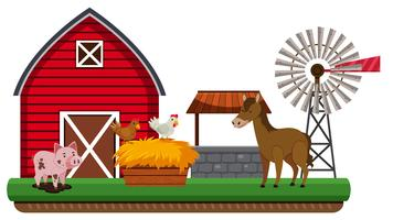 Animals and farm landscape vector