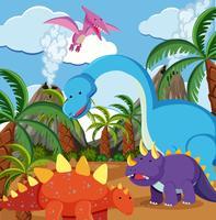 Dinosaure plat dans la nature