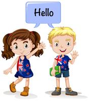 Australian boy and girl saying hello