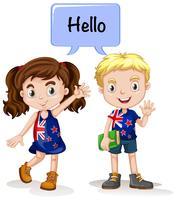 Australian boy and girl saying hello