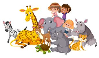 Wild animals and children vector