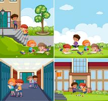 Set of children at school scenes