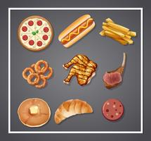 Conjunto de comida deliciosa