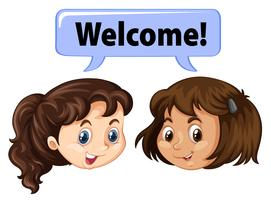 Two girls saying welcome vector