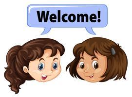 Duas garotas dizendo bem-vindo