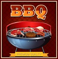 BBQ beef on grill vector
