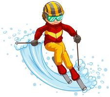 Man skiing isolated concept vector