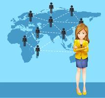 Affärskvinna och människor runt om i världen