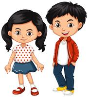 Asian boy and girl standing