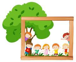 Kids in wooden frame scene vector