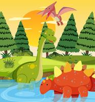 Dinossauro plano na natureza
