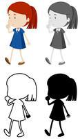 Set des Mädchens mit shh Zeichen