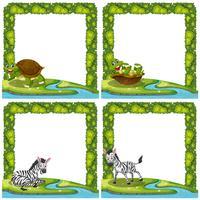 Conjunto de animales en el marco de la naturaleza.