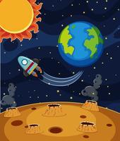Raketrit in donkere ruimte