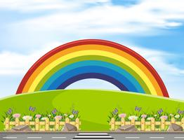 Background scene with rainbow in the park