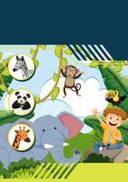 Een sjabloon met jongen en wilde dieren