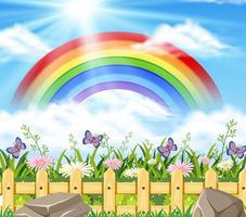 Bakgrundsscen med regnbåge och trädgård