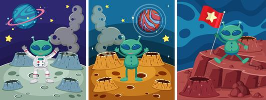 Three space scenes with alien on the strange planet vector